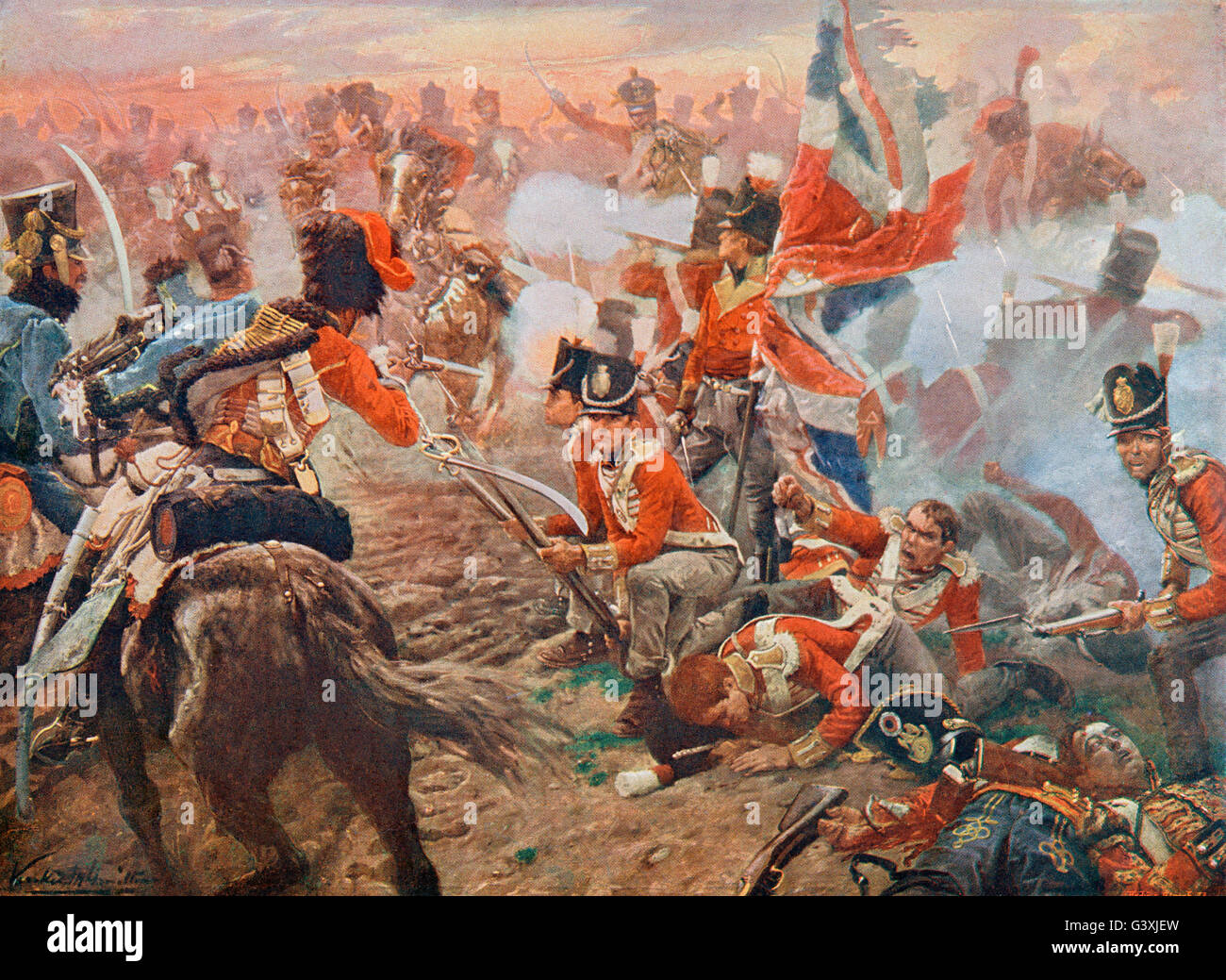 The Battle of Quatre Bras, Belgium, 16 June 1815. - Stock Image
