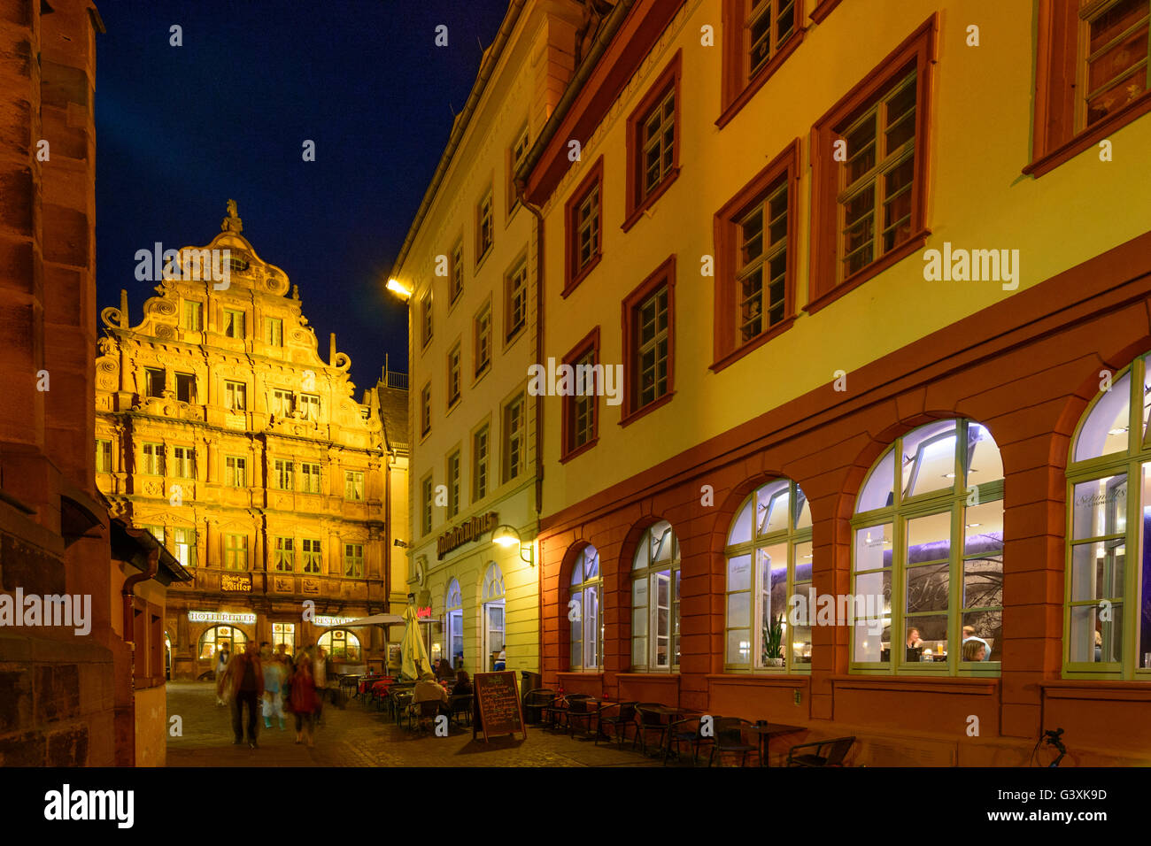 Old Town : Haspelgasse with Schmidt 's Lounge ( right) and Haus zum Ritter (House of the Knight), Germany, Baden - Stock Image
