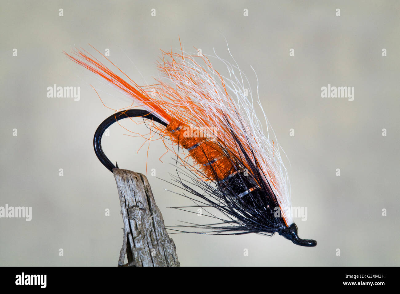 Hand-tied artificial steelhead fishing flies from the Pacific Northwest - Stock Image