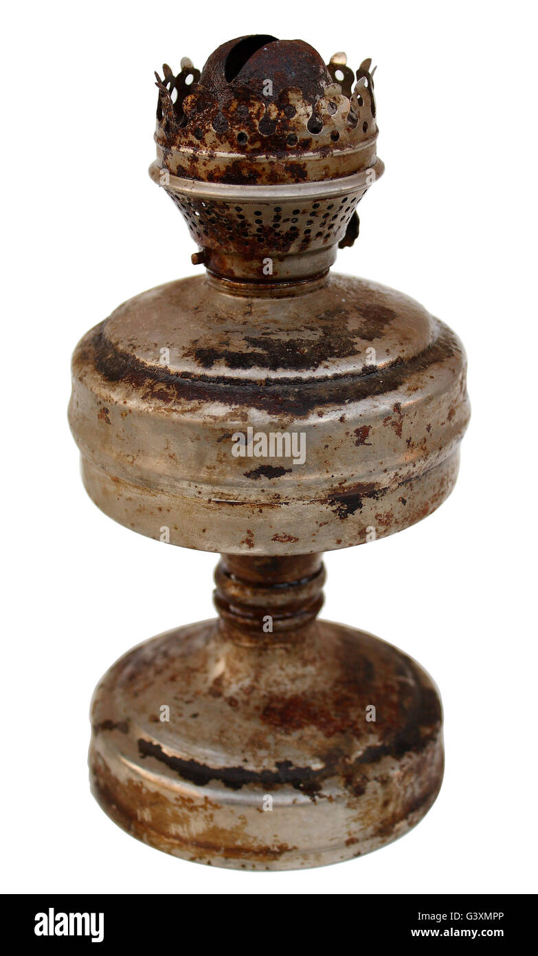 antique kerosene lamp on a white background - Stock Image