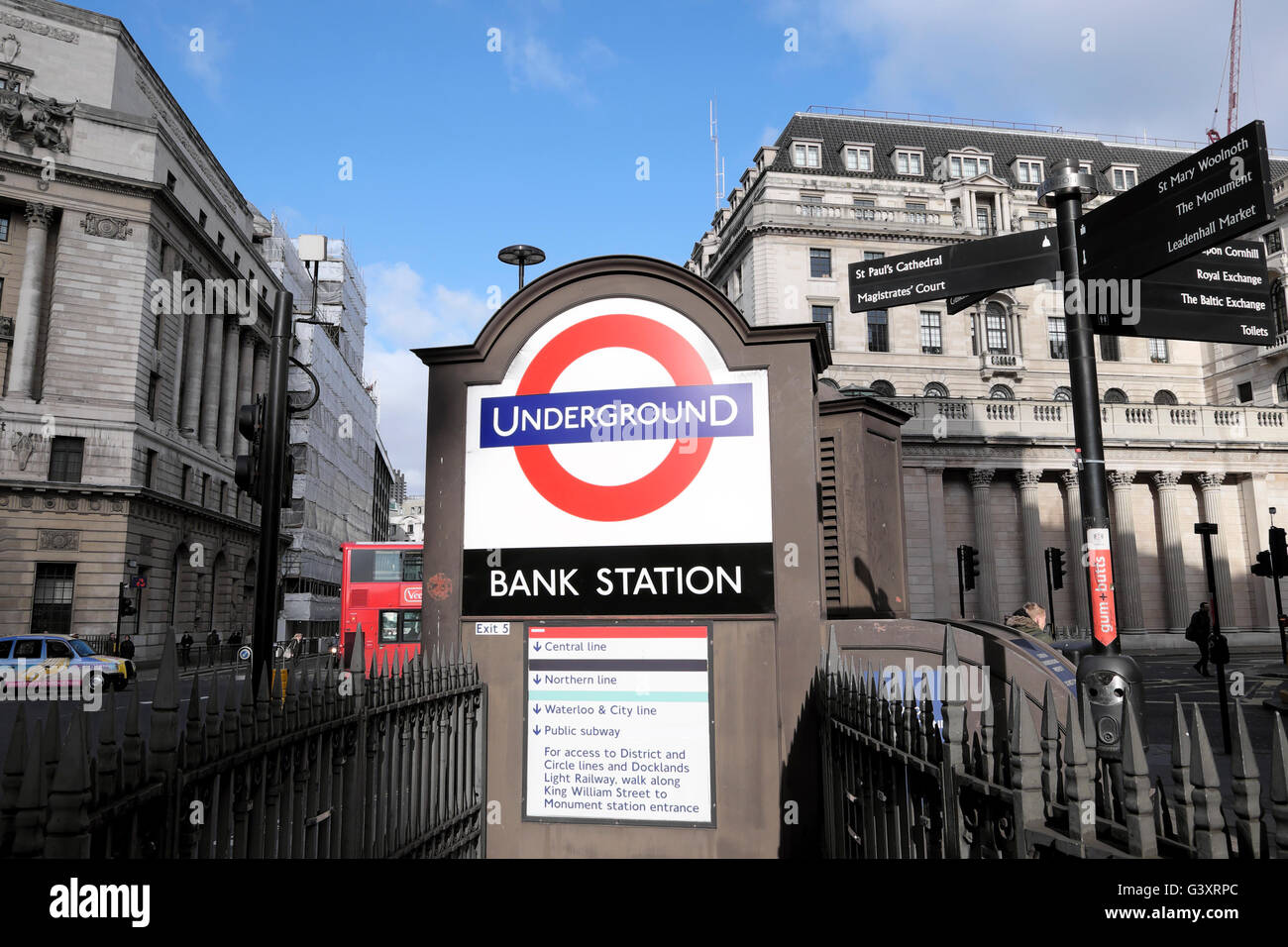 Exterior 'Bank Station'  tube underground station sign on King William Street near  Bank of England  in - Stock Image