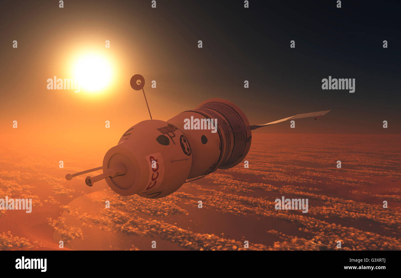 Russian Soyuz Spacecraft. - Stock Image