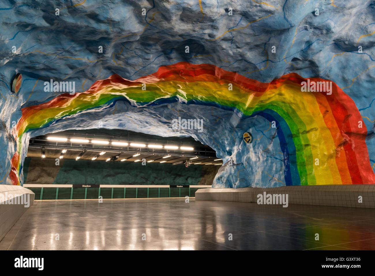 Stadion Metro Station in Stockholm, Sweden - Stock Image