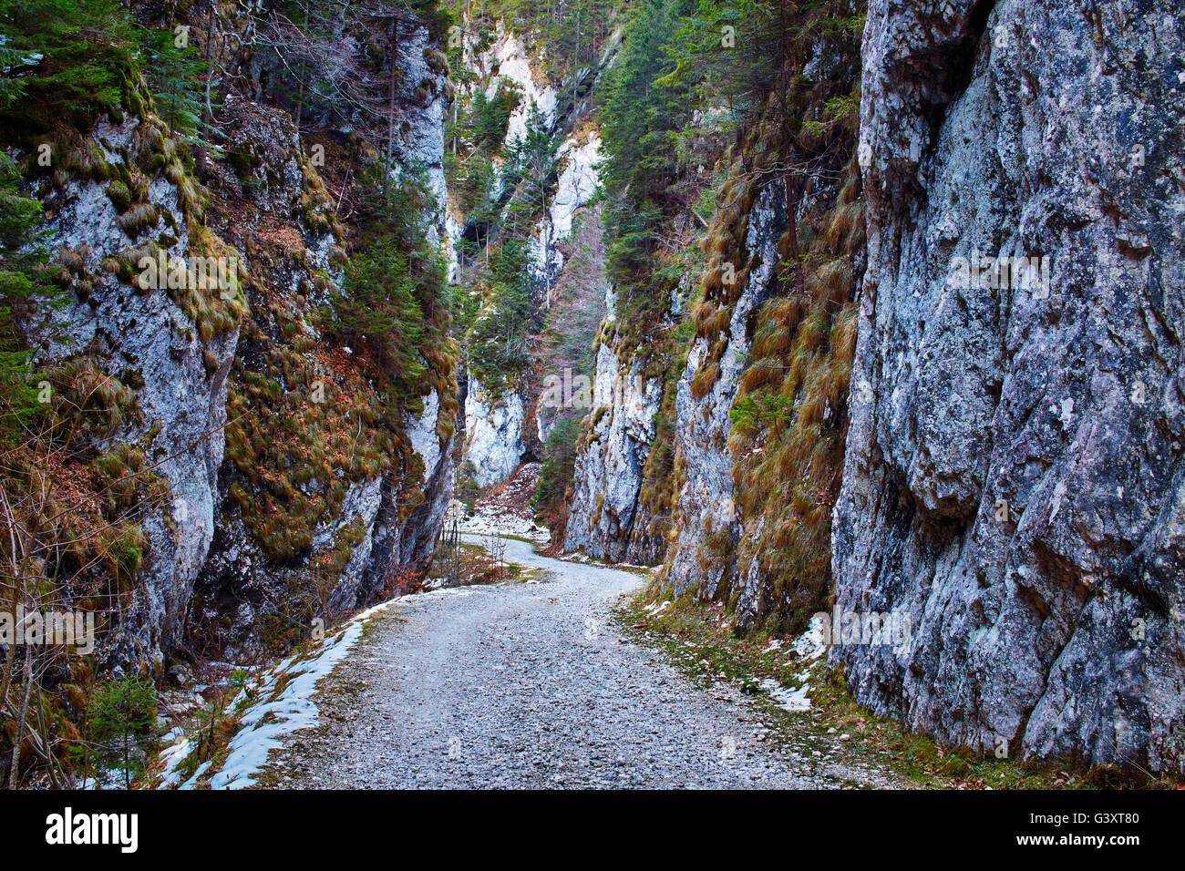 Dirt road going through a narrow canyon Stock Photo