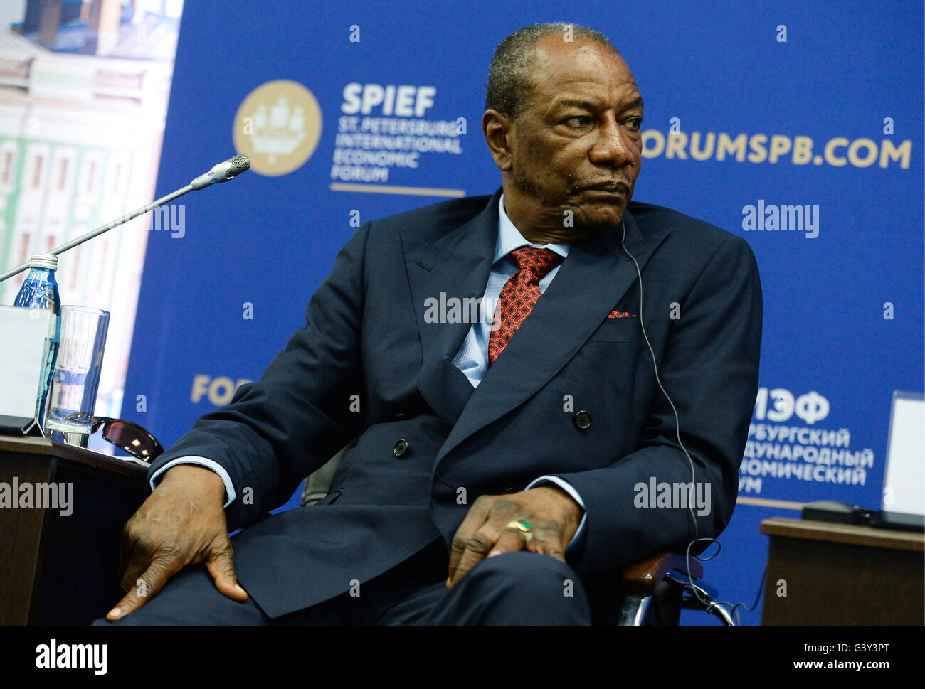 St Petersburg, Russia. 16th June, 2016. President Alpha Conde of the Republic of Guinea at a panel session titled - Stock Image