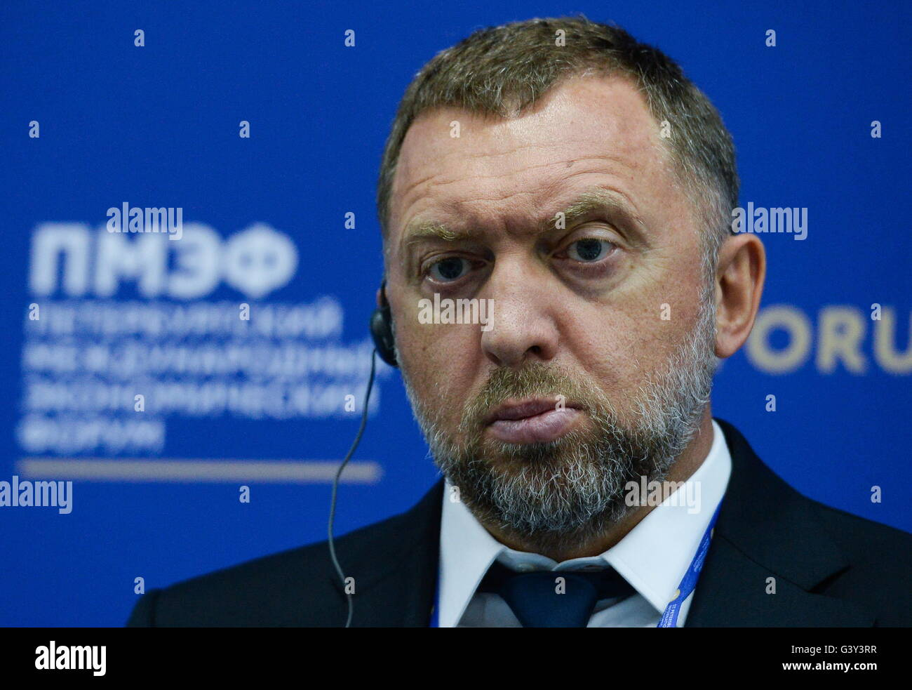 St Petersburg, Russia. 16th June, 2016. Rusal President Oleg Deripaska at a panel session titled 'The Economic - Stock Image