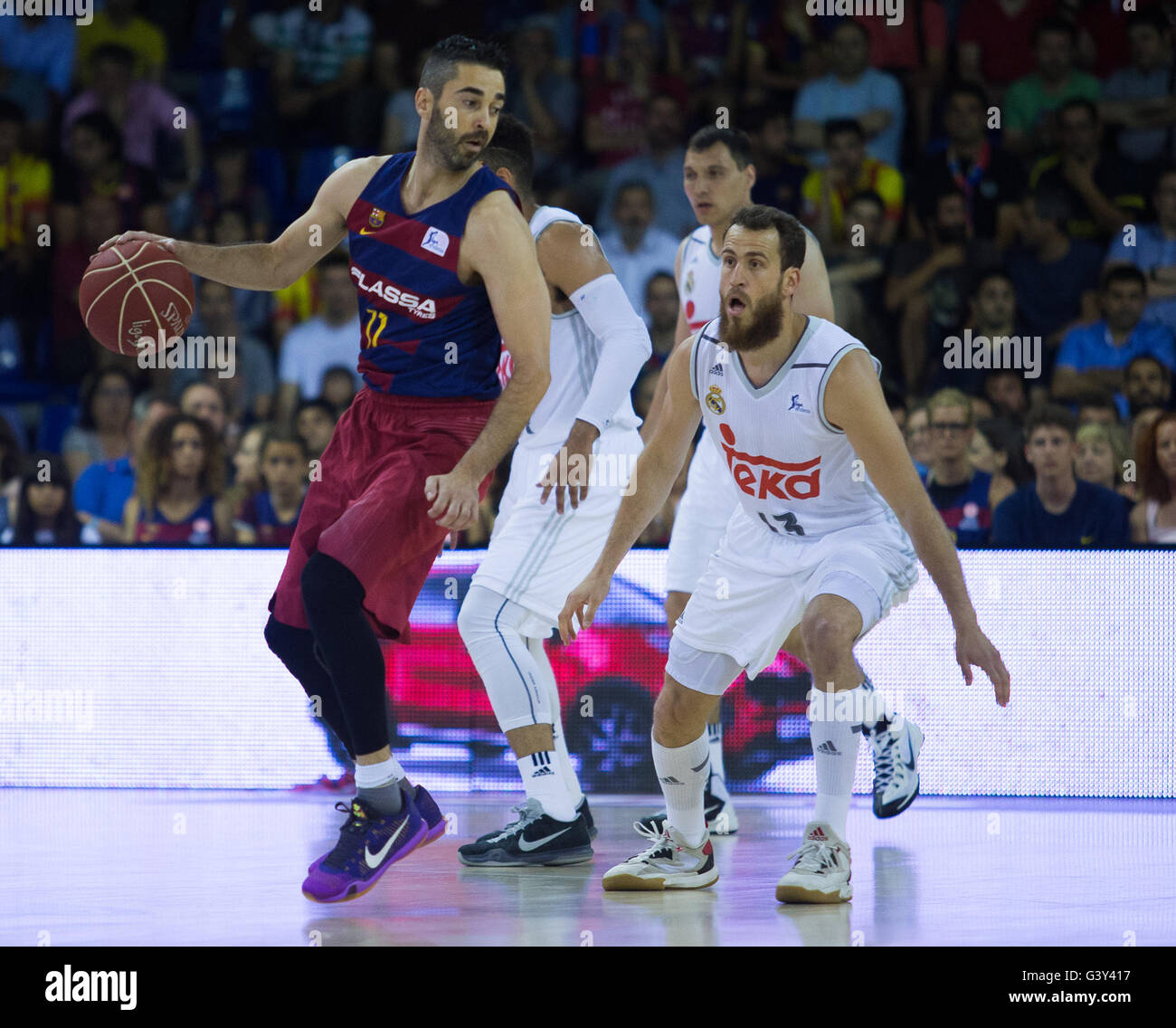 Barcelona, Spain. 15th June, 2016. FC Barcelona Lassa earned a victory in the opening match of the Endesa League - Stock Image