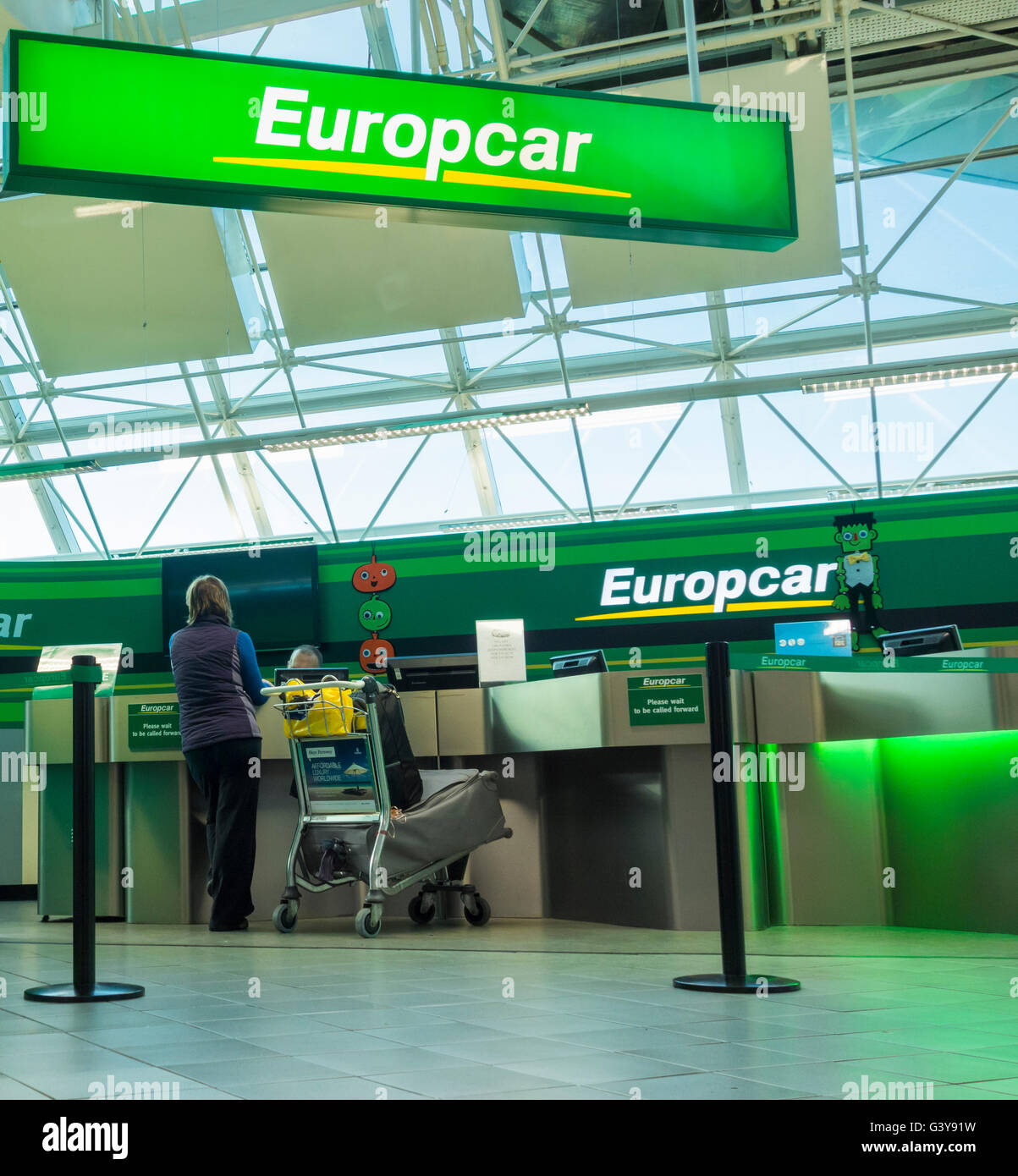 Europcar Car Hire Desk In Newcastle Airport England Uk Stock Photo