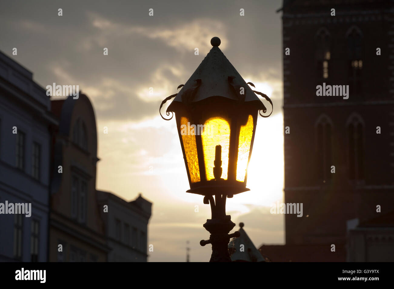 Lantern in the market square of Wismar, Mecklenburg-Western Pomerania - Stock Image