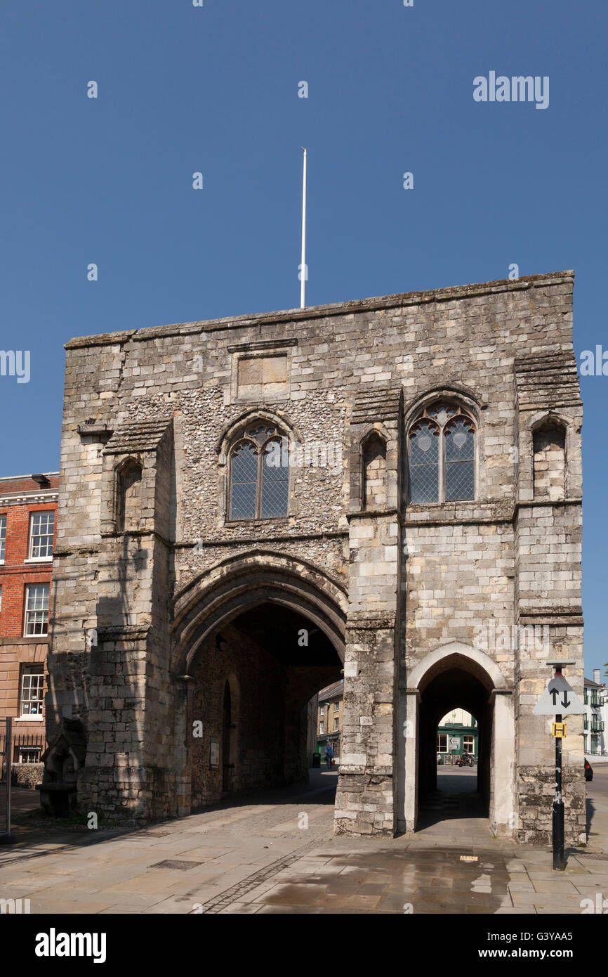 Westgate, one of two surviving fortified gateways, now a museum, Winchester, Hampshire, England, United Kingdom, - Stock Image