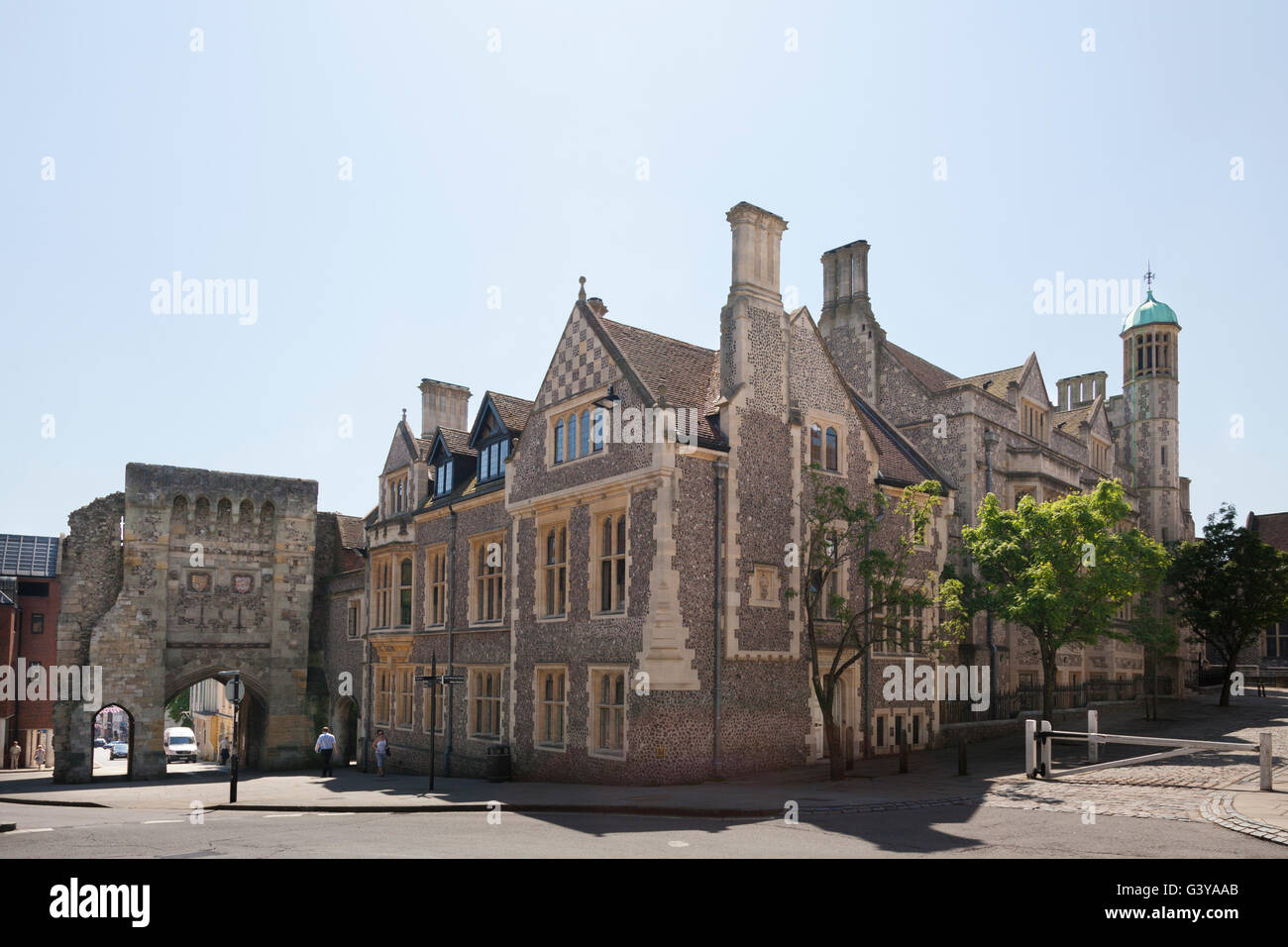 Westgate at the top of Winchester High Street, Winchester, Hampshire, England, United Kingdom, Europe - Stock Image