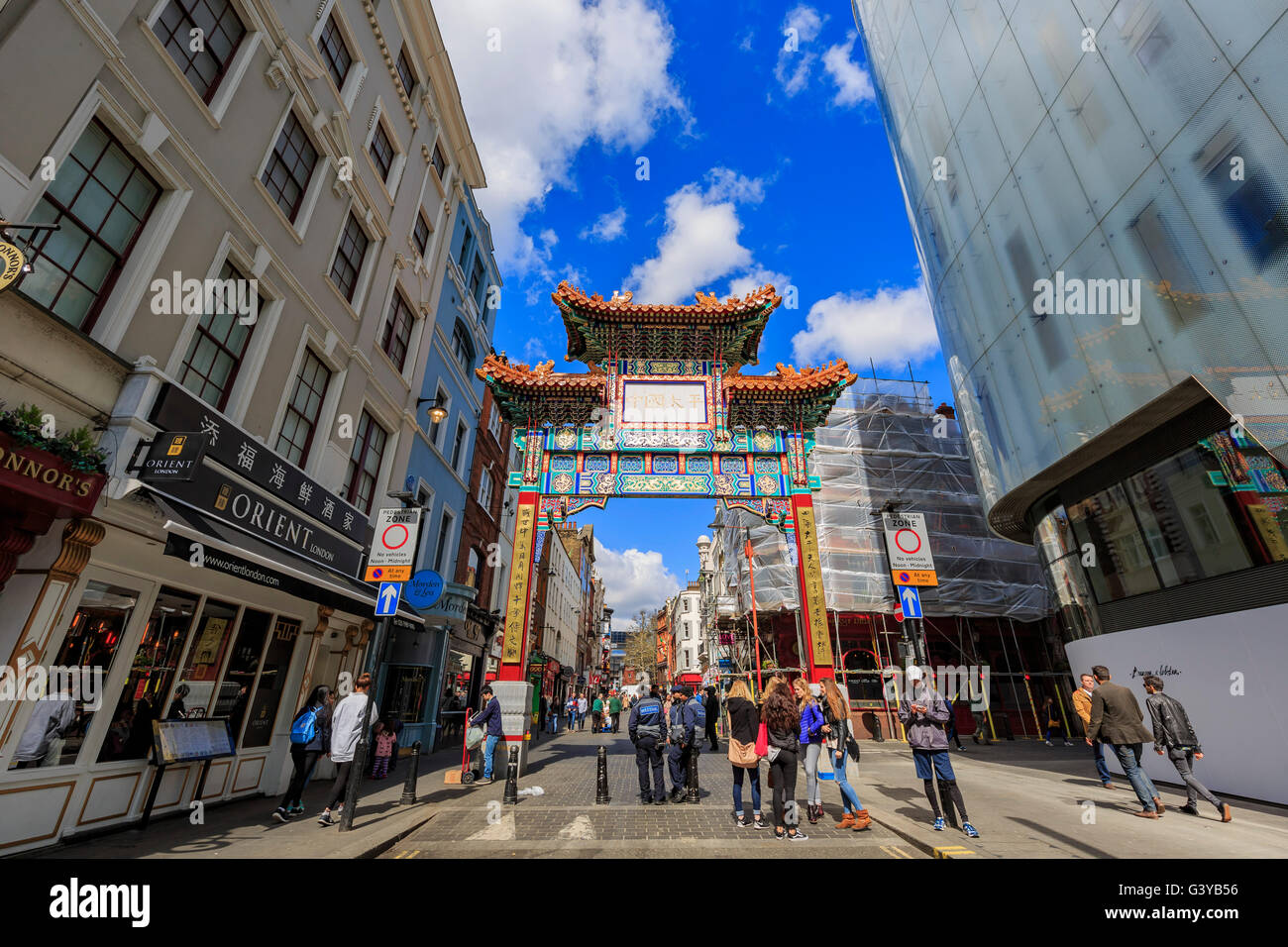 London, APR 17: The famous China Town on APR 17, 2016 at London - Stock Image