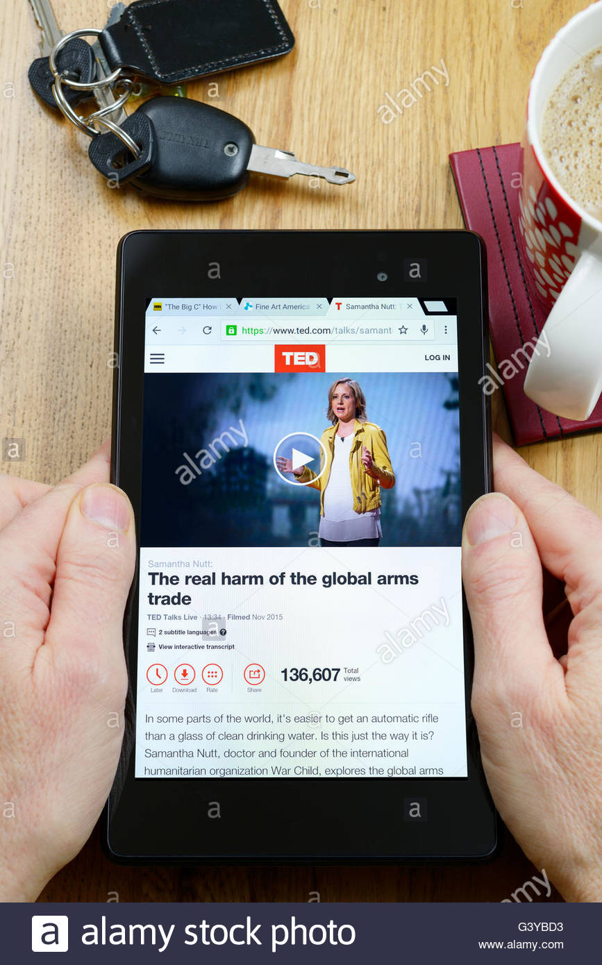TED Talks app on an android tablet PC, Dorset, England, UK - Stock Image