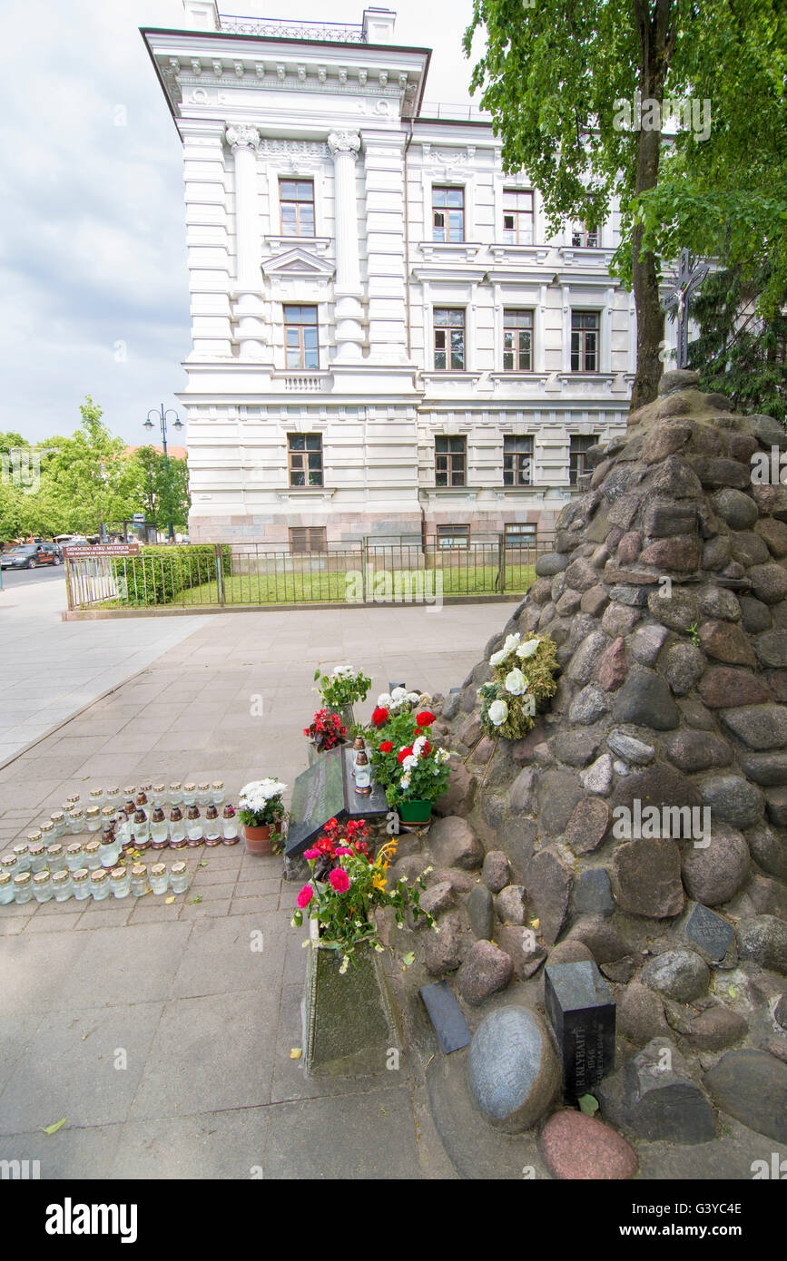 The Museum of Genocide Victims, it is located in the former KGB headquarters across from the Lukiskes Square, - Stock Image