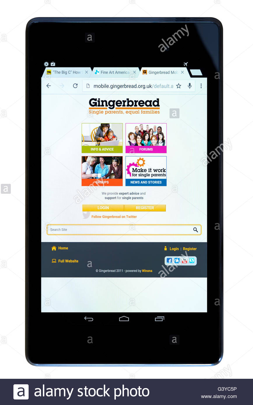 Gingerbread single parent families app shown on a tablet computer, Dorset, England, UK - Stock Image