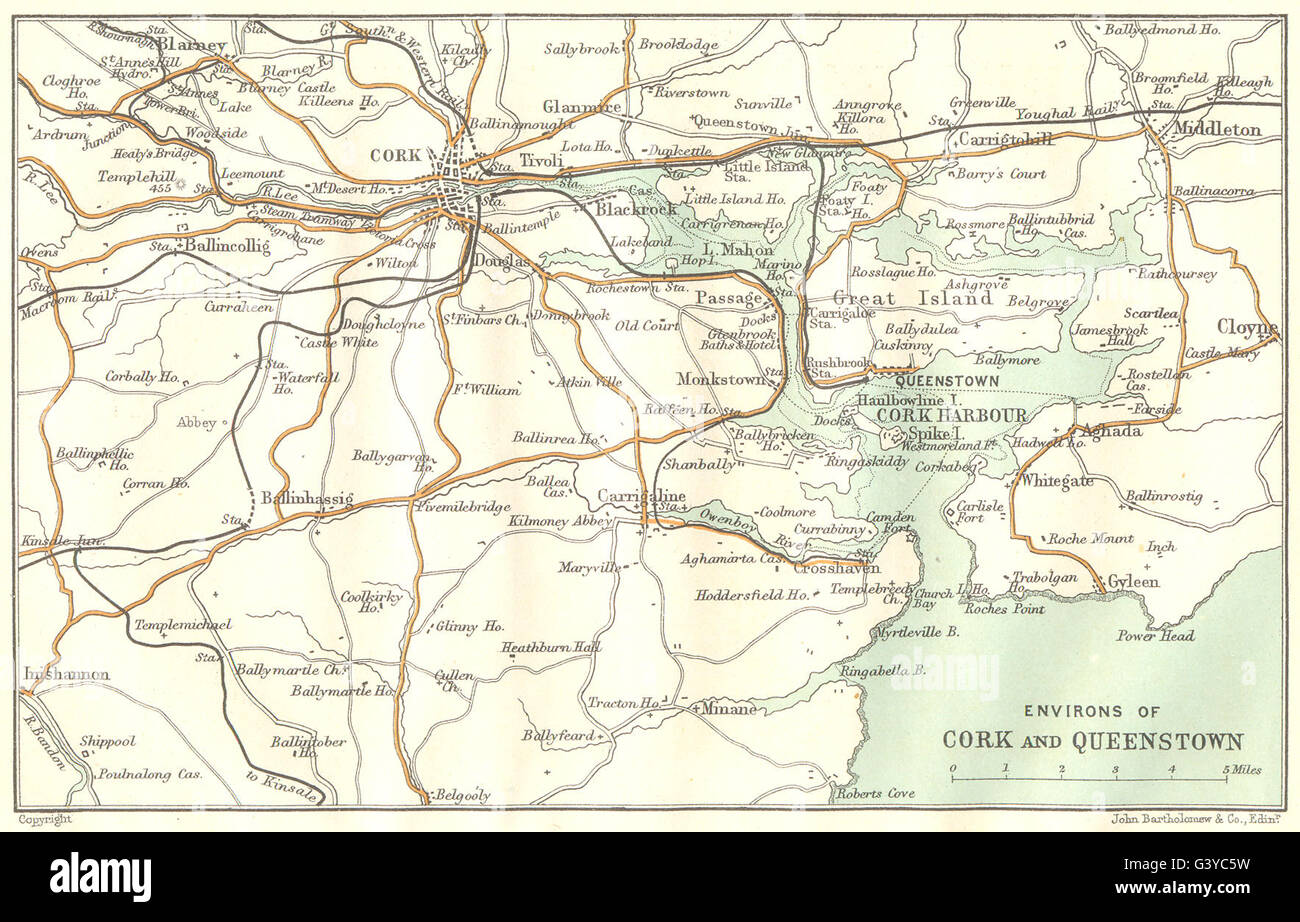 Ireland Environs Of Cork And Cobh 1906 Antique Map Stock Photo
