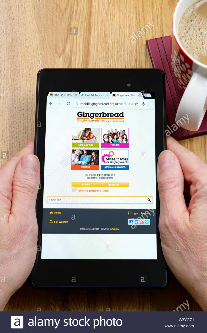 Gingerbread single parent families app shown on a tablet