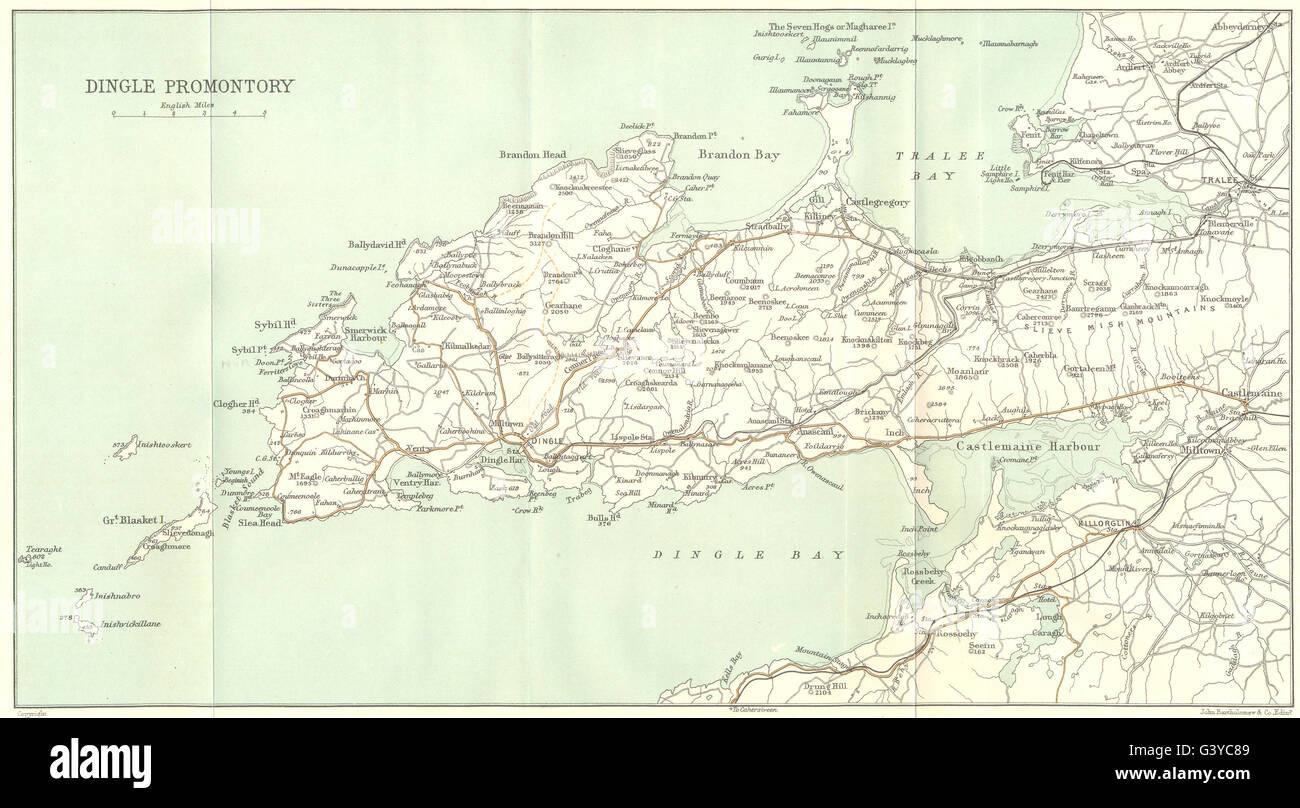 IRELAND: Dingle Promontory, 1906 antique map Stock Photo: 105708521 on