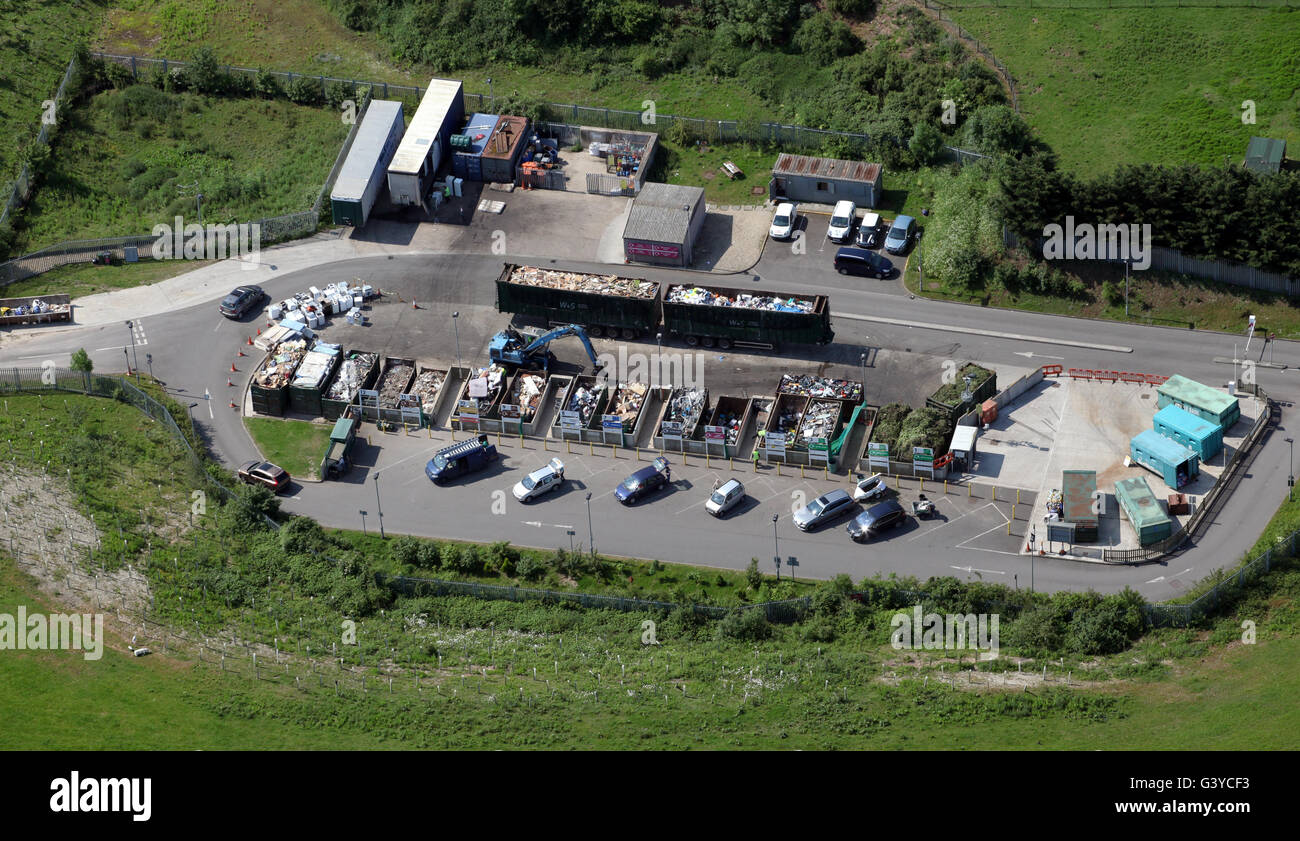 aerial view of a domestic household waste recycling plant in England, UK - Stock Image