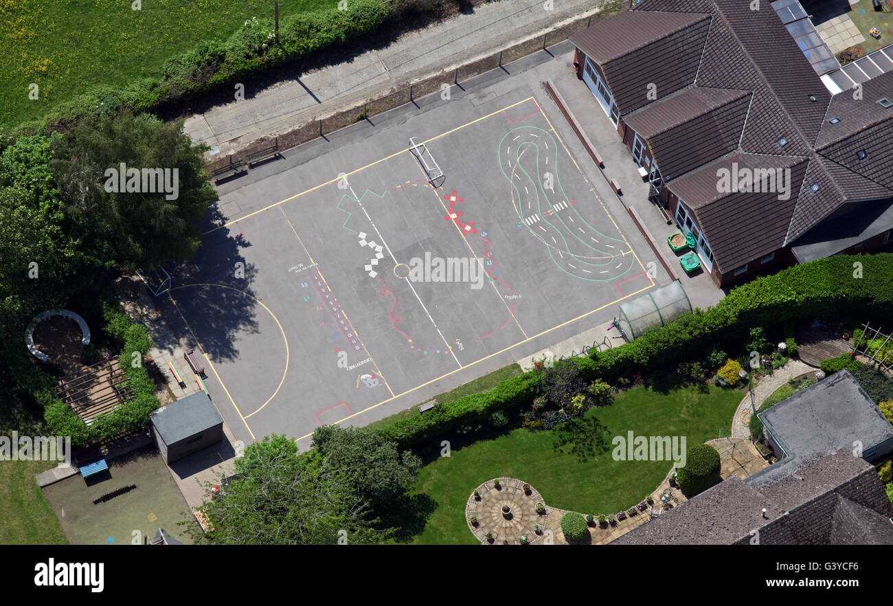 aerial view of a school playground, England, UK - Stock Image