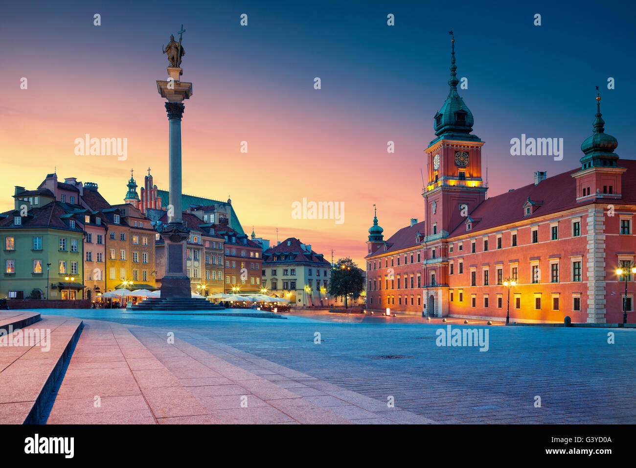 Warsaw. Image of Old Town Warsaw, Poland during sunset. - Stock Image
