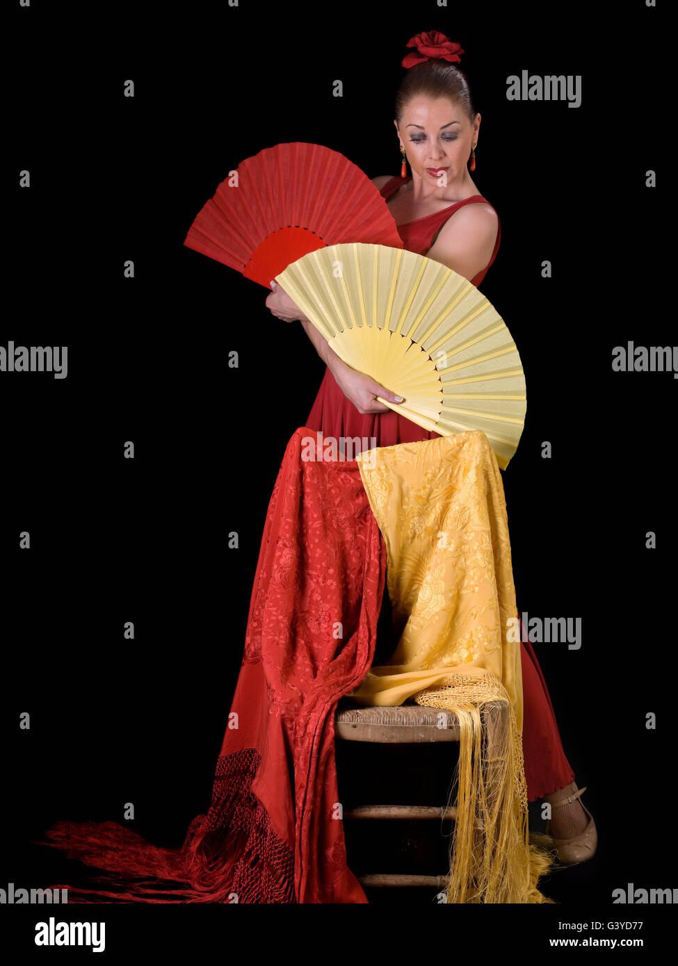 Spanish Woman, flamenco dancing, looking at the camera - Stock Image