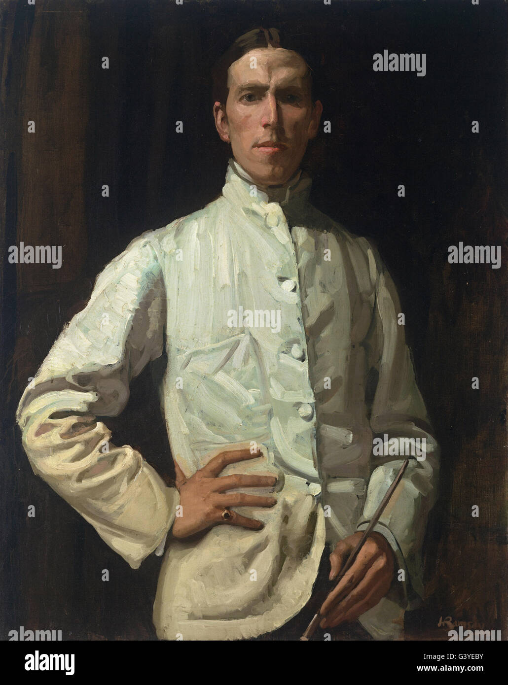 Hugh Ramsay - Self-portrait in white jacket Stock Photo