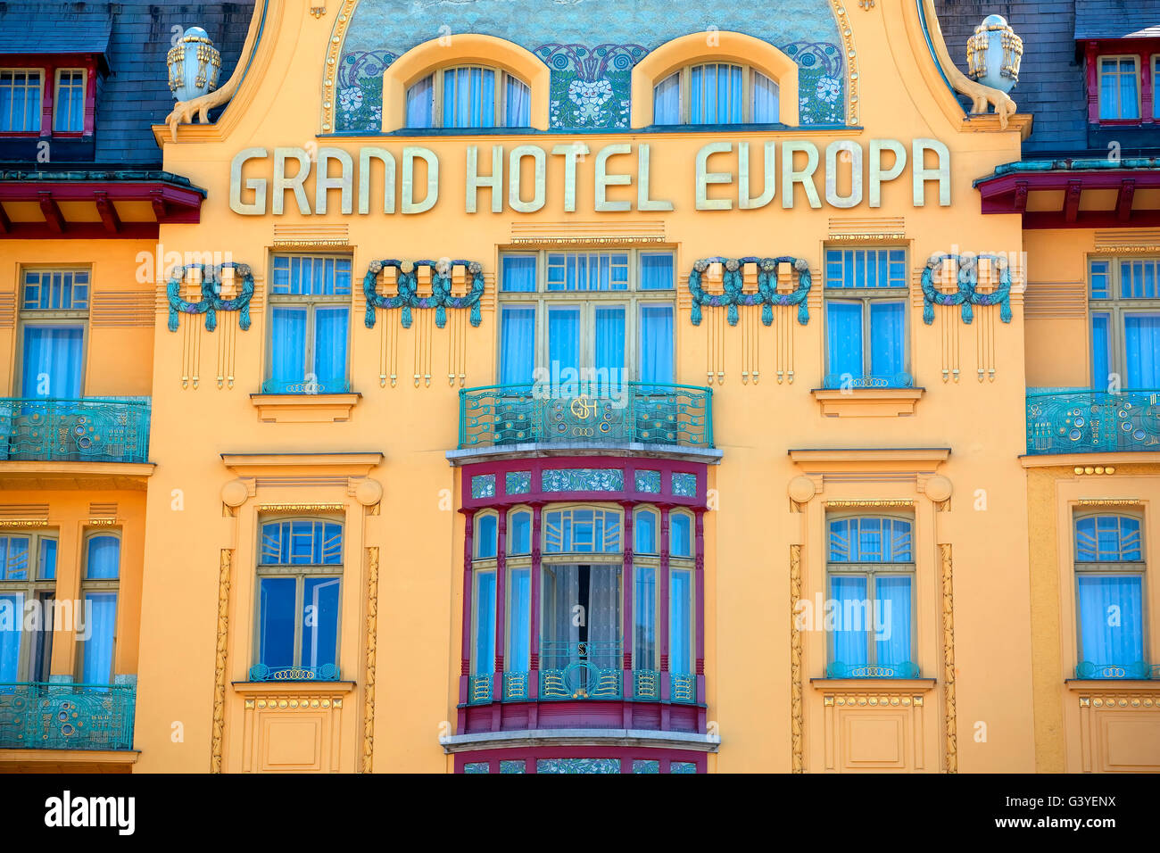 Europa hotel in Wenceslas square in Prague - Stock Image