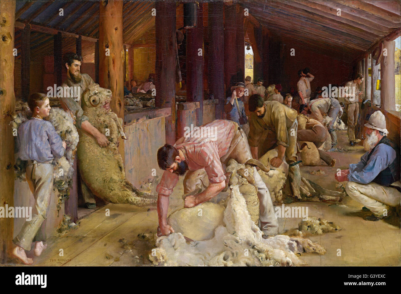 Tom Roberts - Shearing the rams - Stock Image