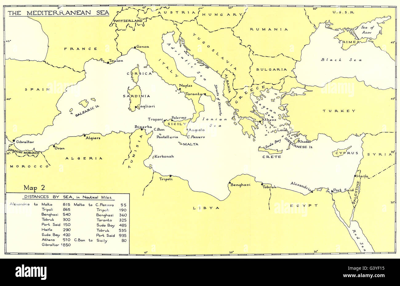 EUROPE: The Mediterranean Sea. Distances by sea from Alexandria