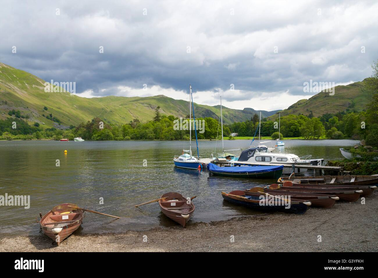 Rowing boats for hire, Glenridding, Ullswater, Lake District National Park, Cumbria, England, UK, GB,  Europe - Stock Image