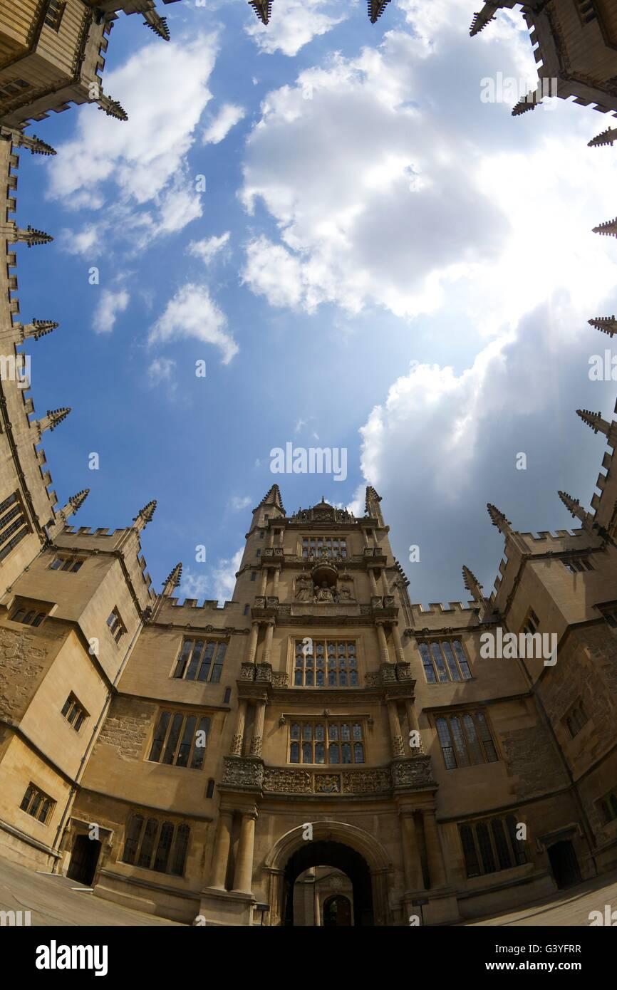 Tower of Five Orders, Old Schools Quadrangle, Bodleian Library, Oxford University, Oxfordshire, England, UK, GB, - Stock Image