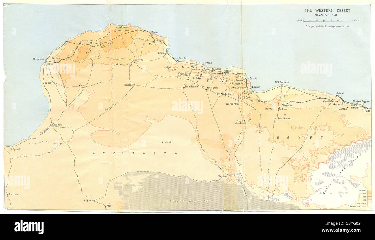 Map Of Africa 1960.Africa The Western Desert November 1941 1960 Vintage Map Stock