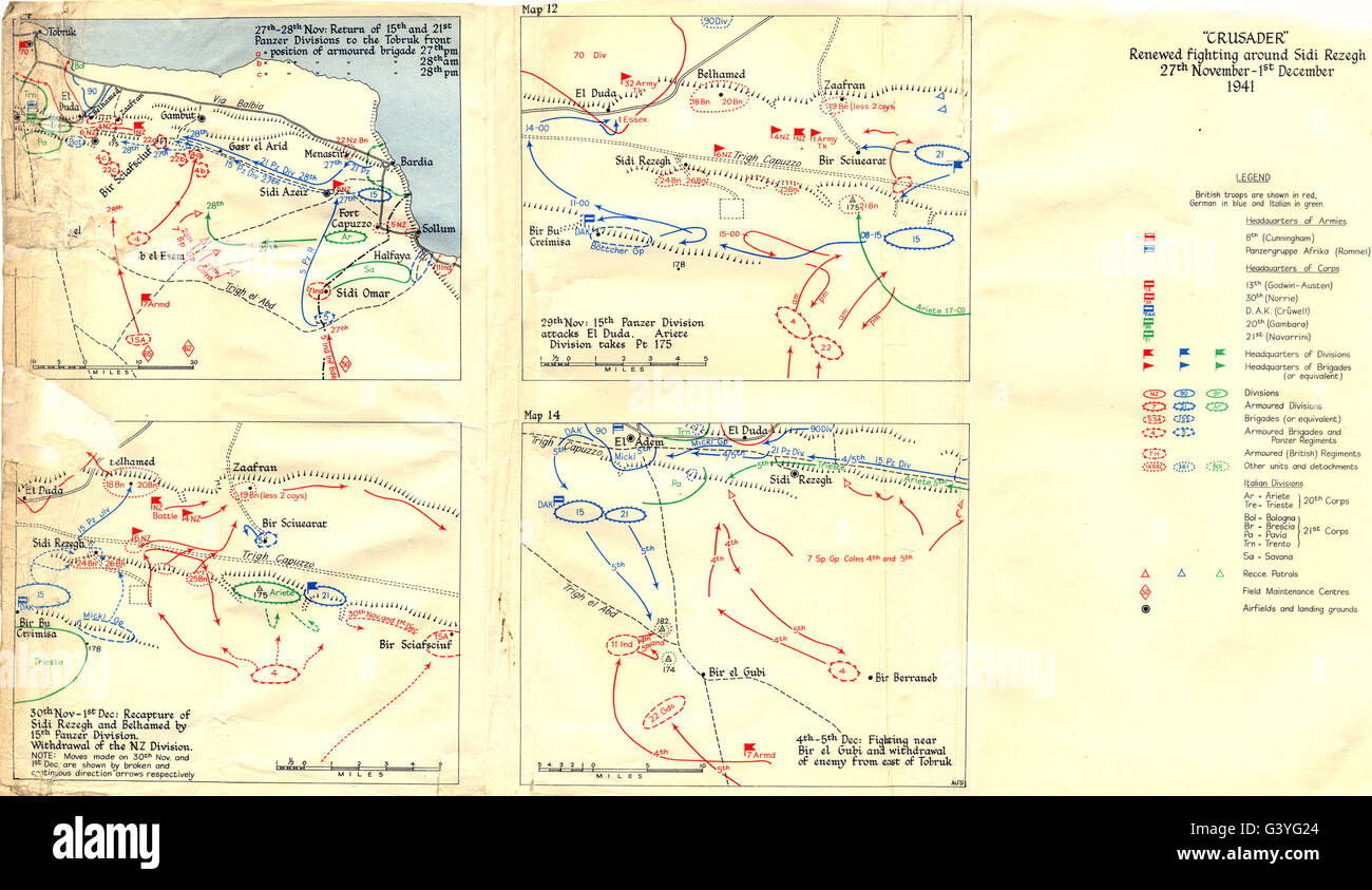 NOV-DEC 1941 CRUSADER: Tobruk Sidi Rezegh Belhamed Pt 175; Bir el Gubi, 1960 map - Stock Image