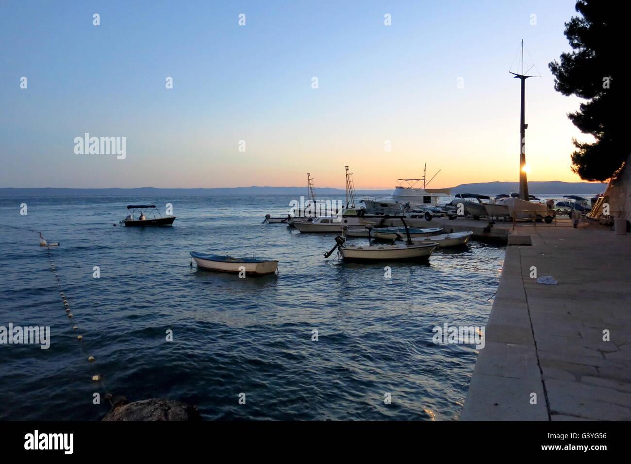Sunset on the Adriatic sea at Makarska Croatia - Stock Image
