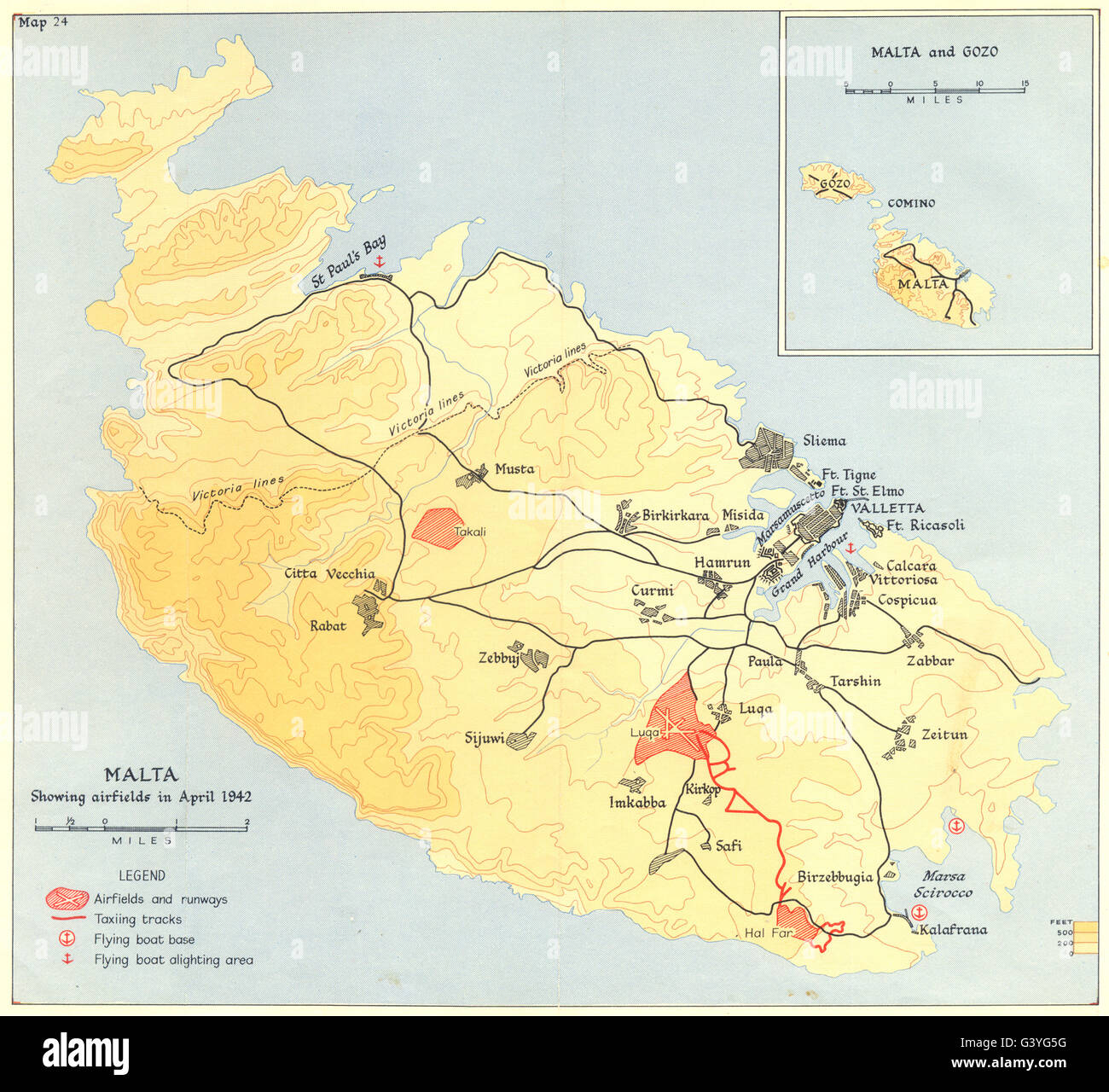 MALTA: April 1942: showing airfields, 1960 vintage map Stock Photo ...