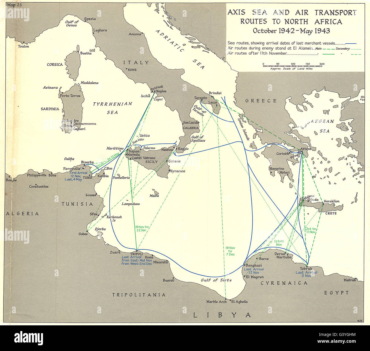 Mediterranean Axis Sea Air Transport Routes N Africa Oct 1942 May