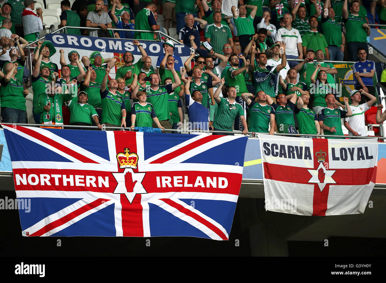 Northern Ireland fans show support for their team in the stands during the UEFA Euro 2016, Group C match at the - Stock Image
