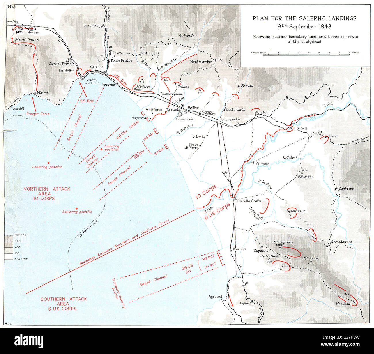 Italy Invasion Of Calabria Sep 1943 Plan For Salerno Landings 9th