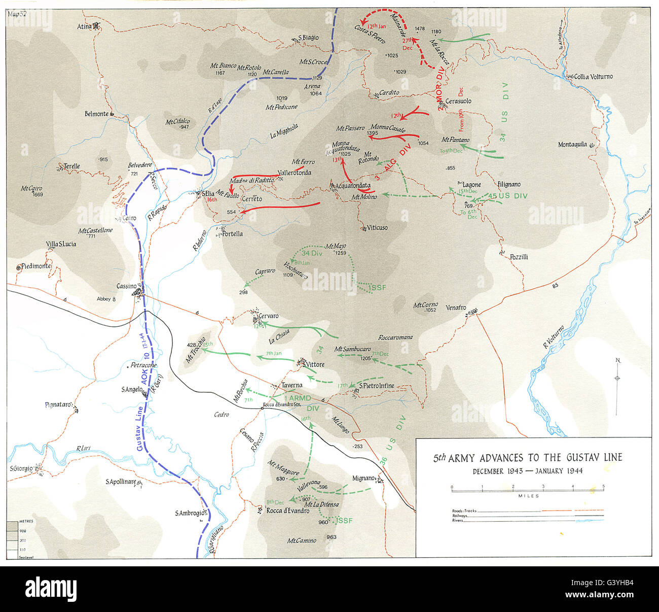 BERNHARDT LINE ASSAULT: Nov-Dec 1943) : 5th Army Advances to Gustav, 1973 map - Stock Image