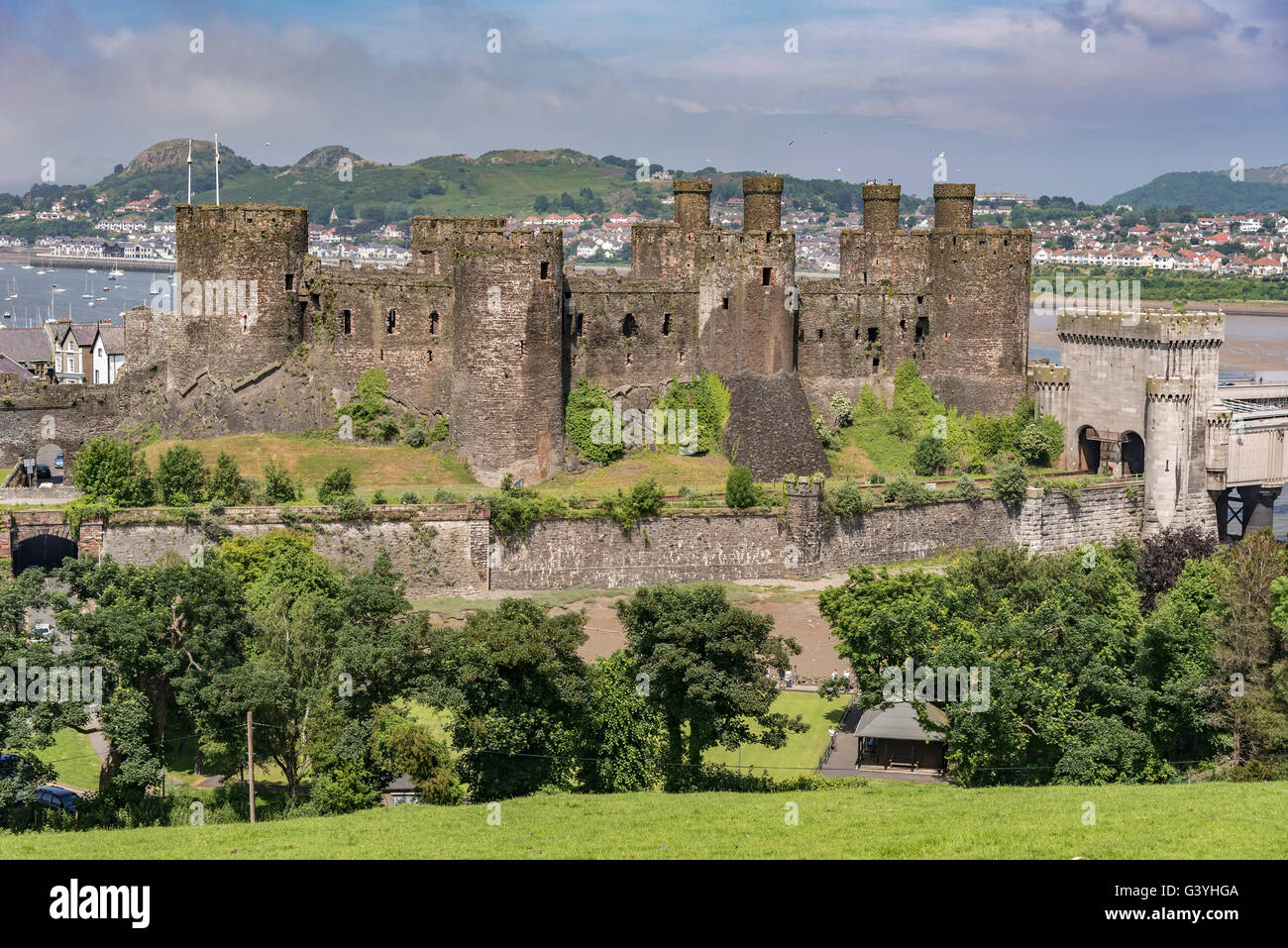 Medieval Conwy Castle Clwyd North Wales on the river Conwy. Conway - Stock Image