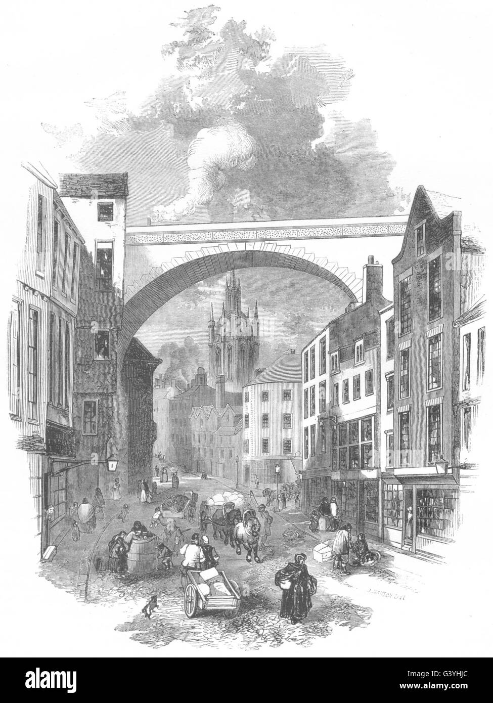 NORTHUMBERLAND: Newcastle: Viaduct, at the end of Dean Street, old print 1850 - Stock Image