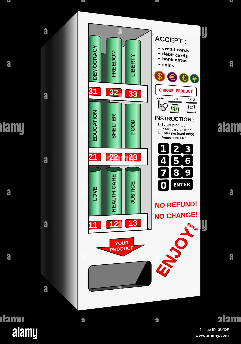 Automatic vending machine selling human rights with money sarcasm. Sarcastic illustration of the issues encountered - Stock Vector