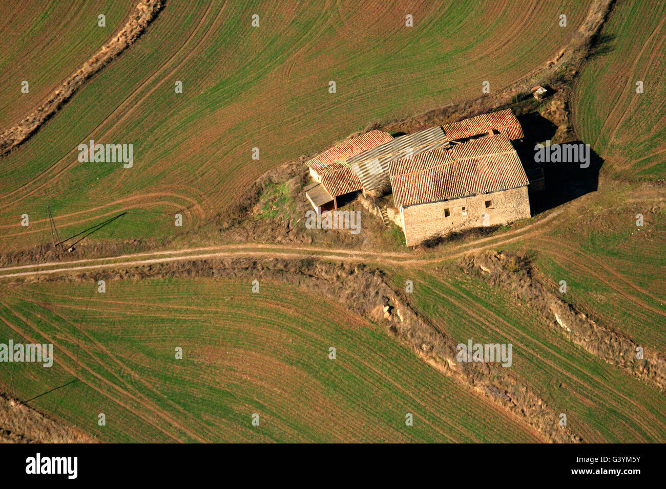 Fields and Masia. Vic. Barcelona Province. Catalonia. Spain - Stock Image