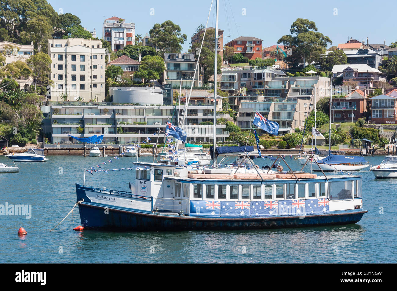 Emerald Star cruise boat at anchor, Lavender Bay, Sydney, New South Wales, Australia - Stock Image