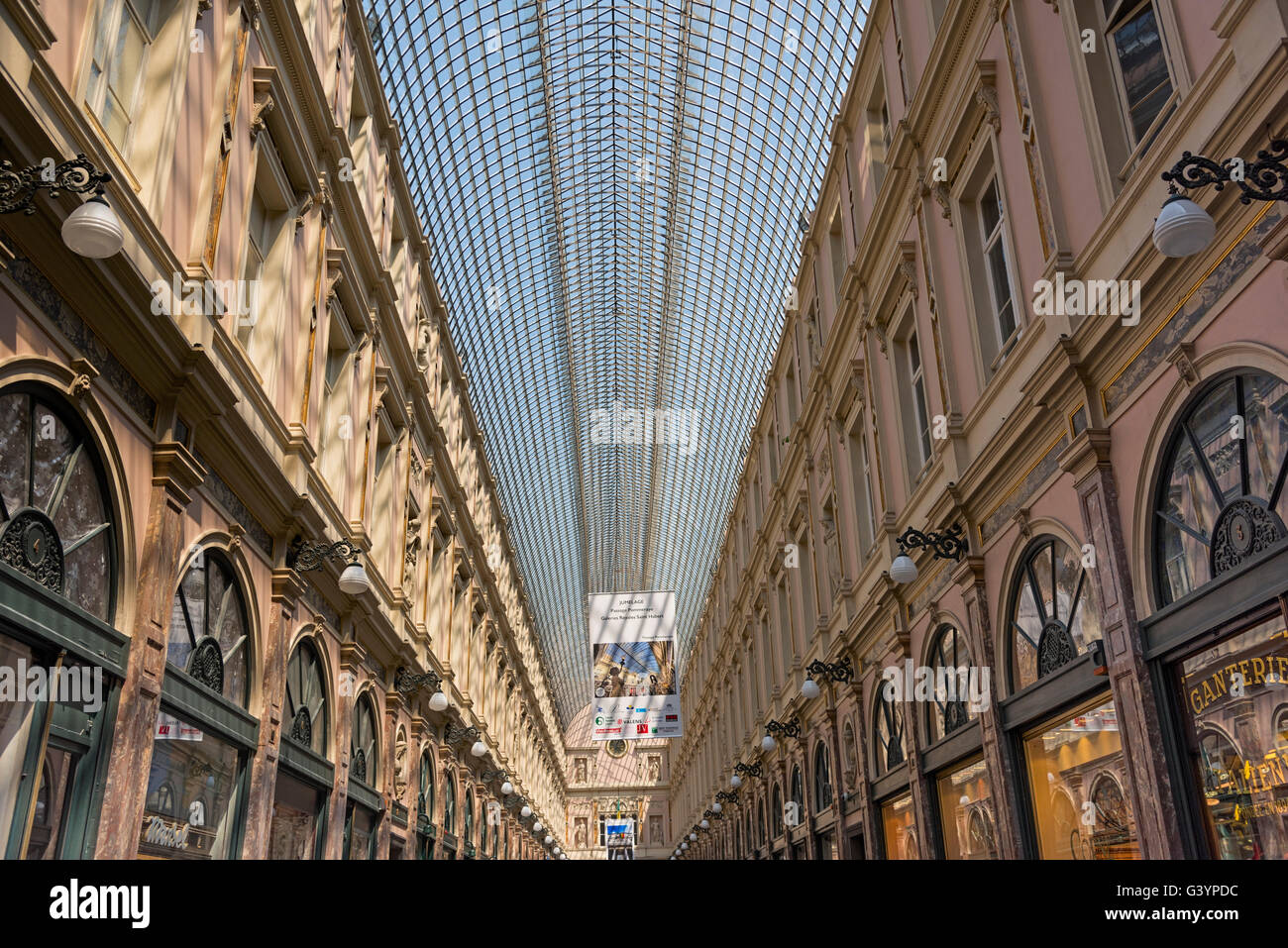 Galeries St Hubert Brussels Belgium - Stock Image