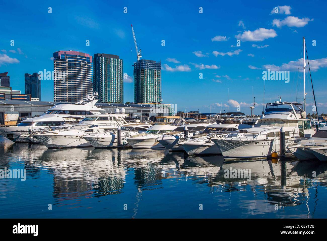 The Marina, boats and harbour or harbor at Docklands, Melbourne, Australia - Stock Image