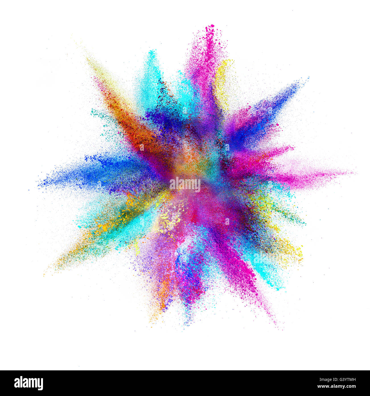 Explosion of colored powder, isolated on white background - Stock Image