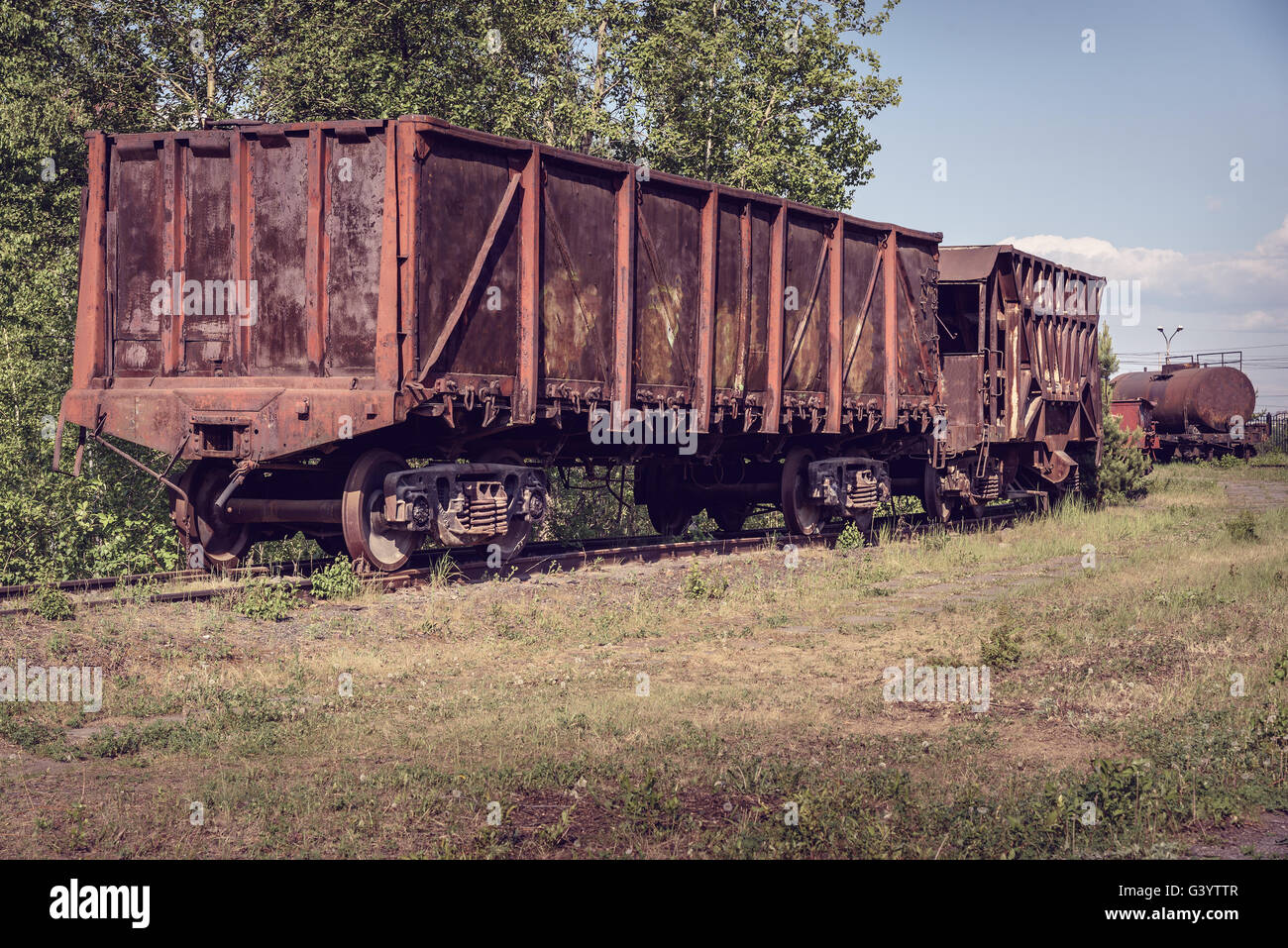 Old open wagon and hopper car  Old industrial railway cars
