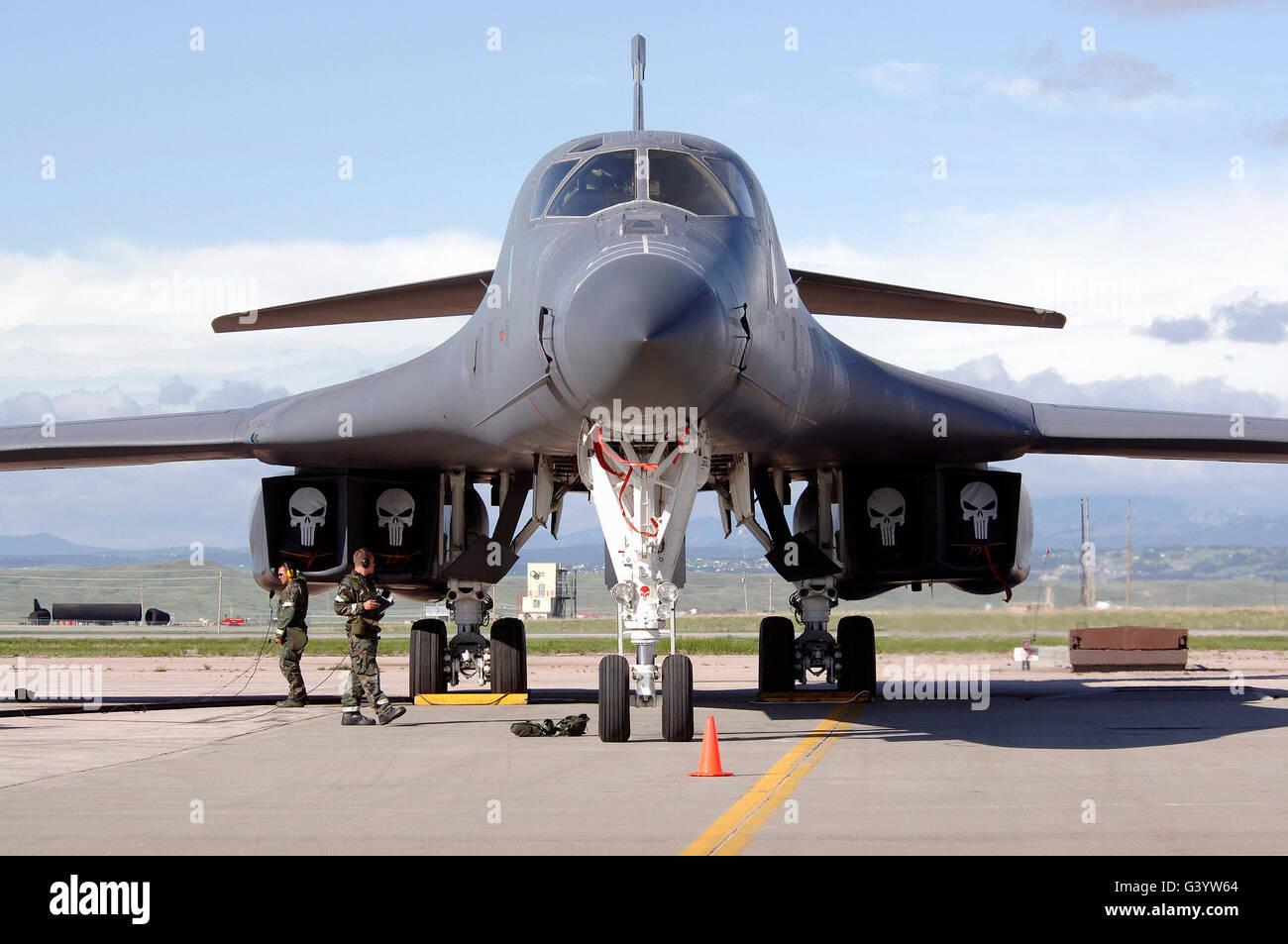 A B-1 Lancer awaits a pre-flight inspection. - Stock Image